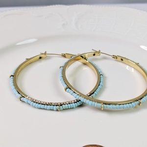Juicy Couture Turquoise Beaded Gold Hoop Earrings